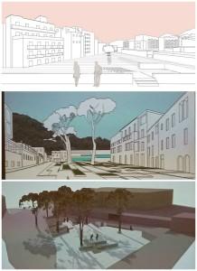 Alcuni dei progetti elaborati per la riqualificazione di Piazza Bagni (foto terza)