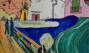 """<span class=""""entry-title-primary"""">""""L'urlo del Majo"""", il suggestivo dipinto di Antonio Mazza</span> <span class=""""entry-subtitle"""">""""Dedicato a chi ha vissuto questa tragedia e a chi attende aiuti e soluzioni""""</span>"""