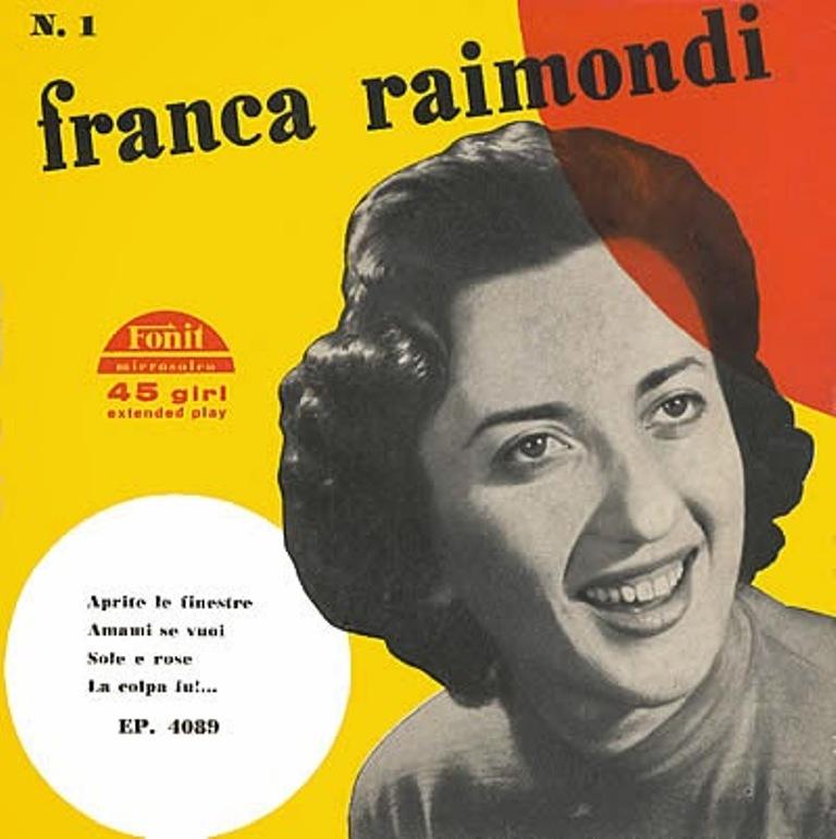 FRANCA RAIMONDI CHE LANCIO' A SANREMO DEL 1956 LA SEMPRE ATTUALE CANZONE POPOLARE DELLA PRIMAVERA