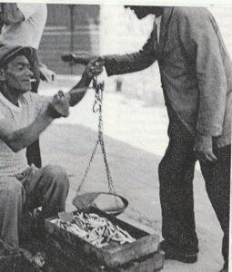 ANNI '50 PESCIVENDOLO DI ALICI PER STRADA IN VIA ROMA A PORTO D'SICHIA