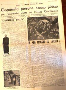 GENNAIO 1968 FUMERALE DEL GRANDE PARROCI DELLA CATTEDRALE CAN. VINCENZO CENATIEMPO ARTICOLI DI ANTONIO LUBRANO